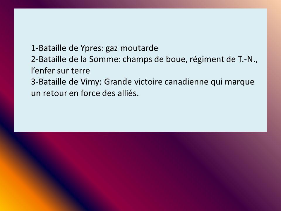 1-Bataille de Ypres: gaz moutarde 2-Bataille de la Somme: champs de boue, régiment de T.-N., l'enfer sur terre 3-Bataille de Vimy: Grande victoire canadienne qui marque un retour en force des alliés.