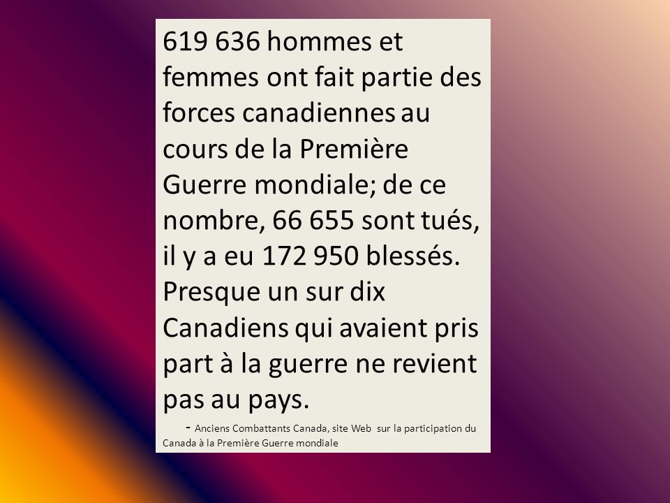 619 636 hommes et femmes ont fait partie des forces canadiennes au cours de la Première Guerre mondiale; de ce nombre, 66 655 sont tués, il y a eu 172 950 blessés. Presque un sur dix Canadiens qui avaient pris part à la guerre ne revient pas au pays.