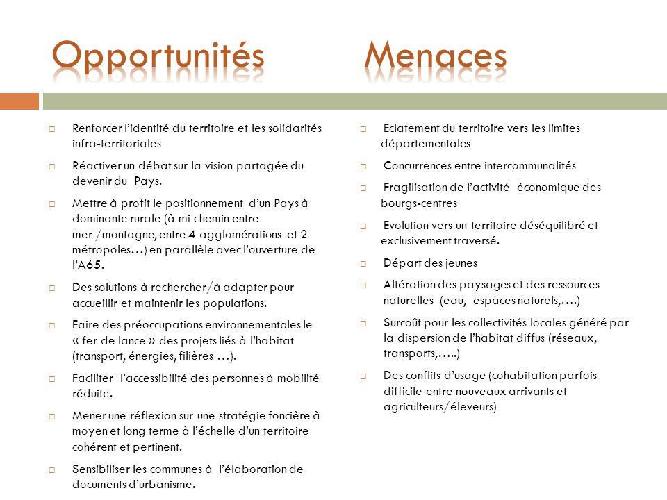 Opportunités Menaces Renforcer l'identité du territoire et les solidarités infra-territoriales.