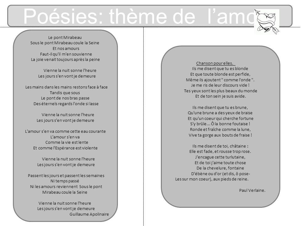 Poésies: thème de l'amour