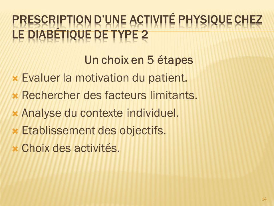Prescription d'une activité physique chez le diabétique de type 2