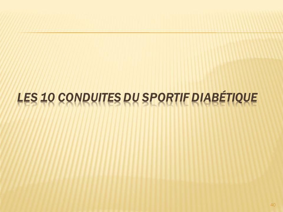 Les 10 conduites du sportif diabétique