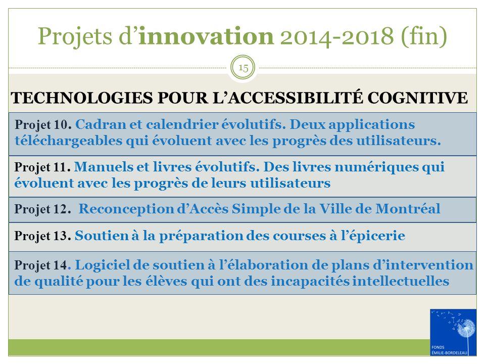 Projets d'innovation 2014-2018 (fin)