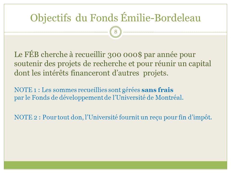 Objectifs du Fonds Émilie-Bordeleau