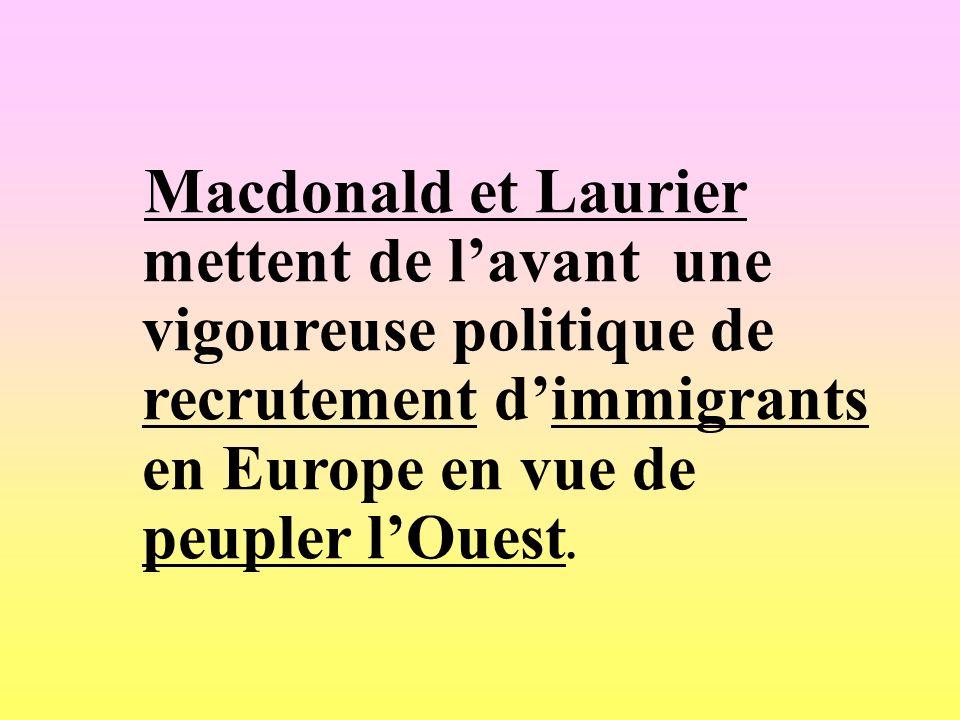 Macdonald et Laurier mettent de l'avant une vigoureuse politique de recrutement d'immigrants en Europe en vue de peupler l'Ouest.