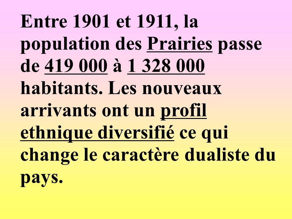 Entre 1901 et 1911, la population des Prairies passe de 419 000 à 1 328 000 habitants.