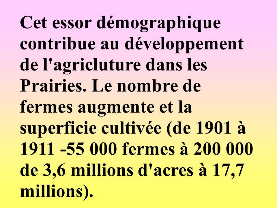 Cet essor démographique contribue au développement de l agricluture dans les Prairies.