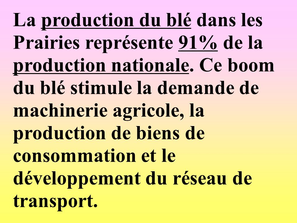 La production du blé dans les Prairies représente 91% de la production nationale.