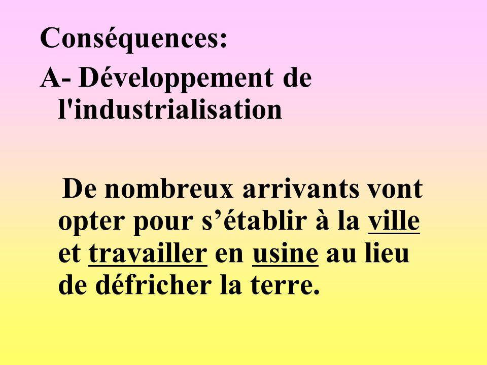 Conséquences: A- Développement de l industrialisation.