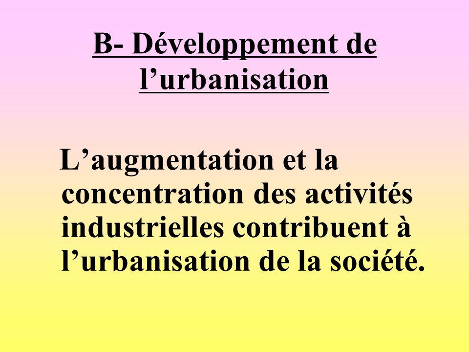 B- Développement de l'urbanisation