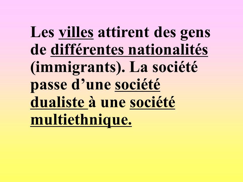 Les villes attirent des gens de différentes nationalités (immigrants)