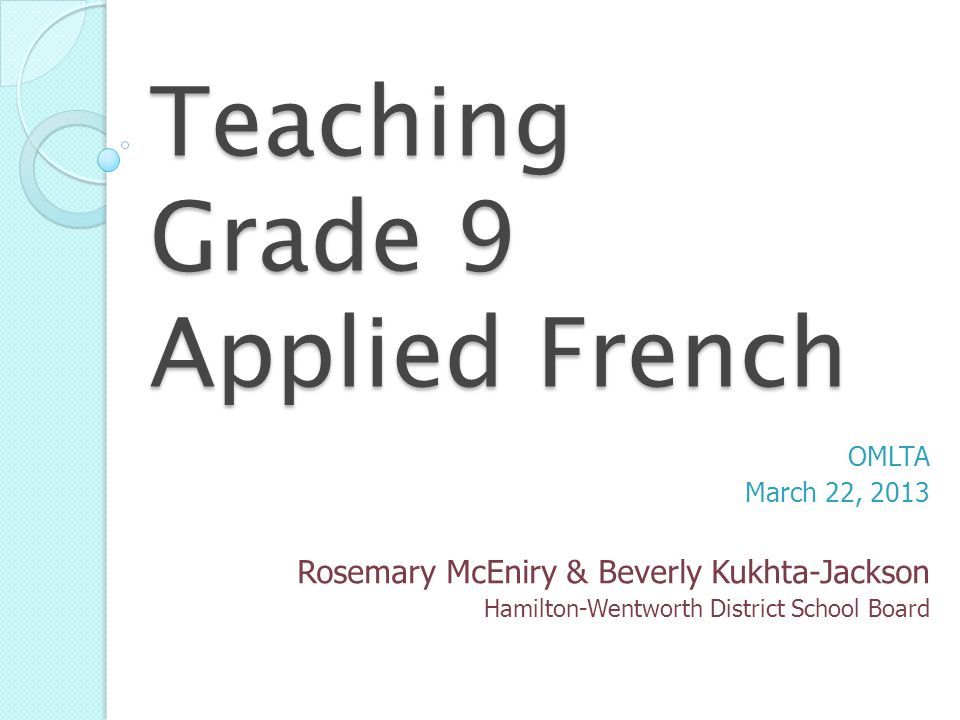 Teaching Grade 9 Applied French