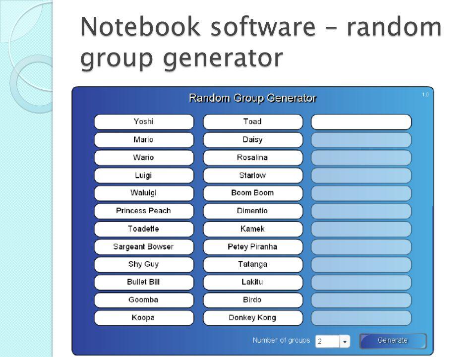 Notebook software – random group generator
