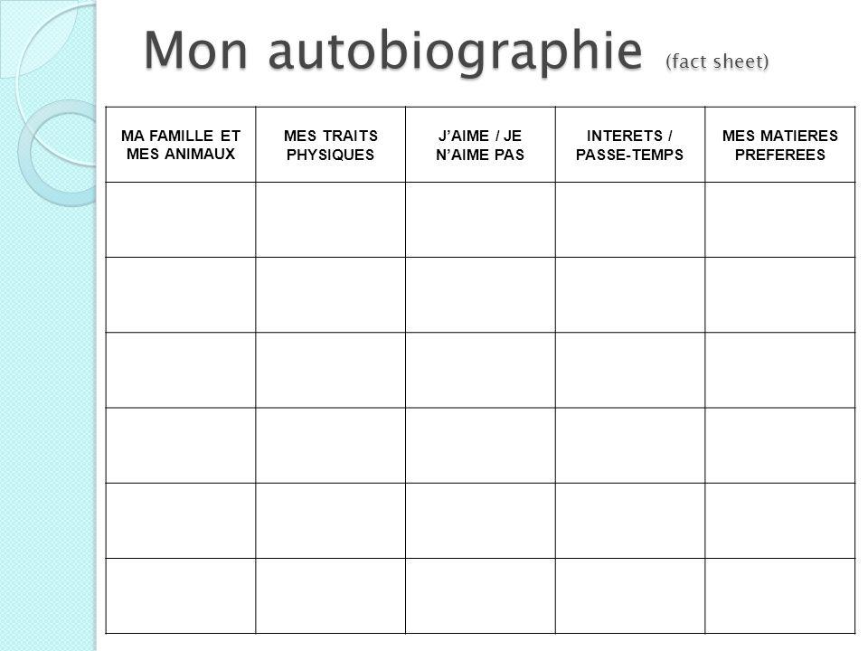 Mon autobiographie (fact sheet)
