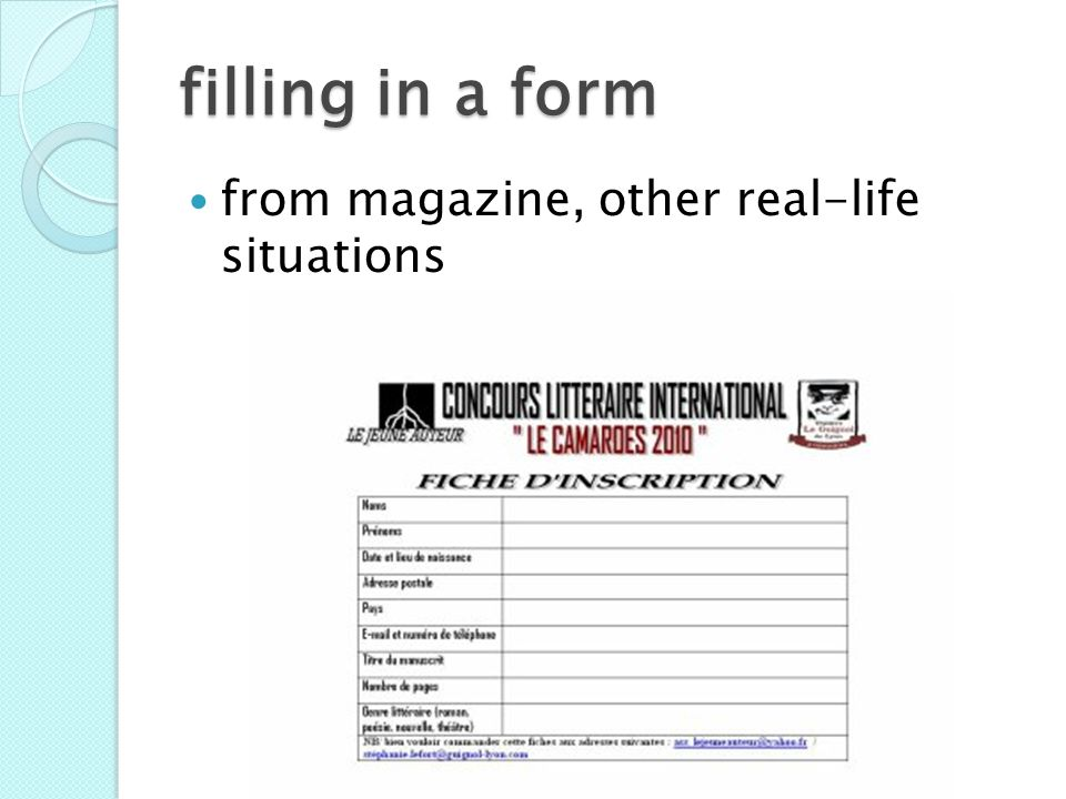 filling in a form from magazine, other real-life situations Bev