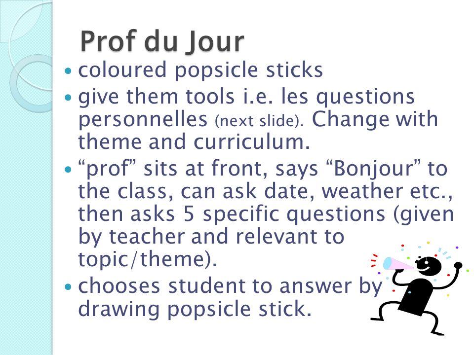 Prof du Jour coloured popsicle sticks