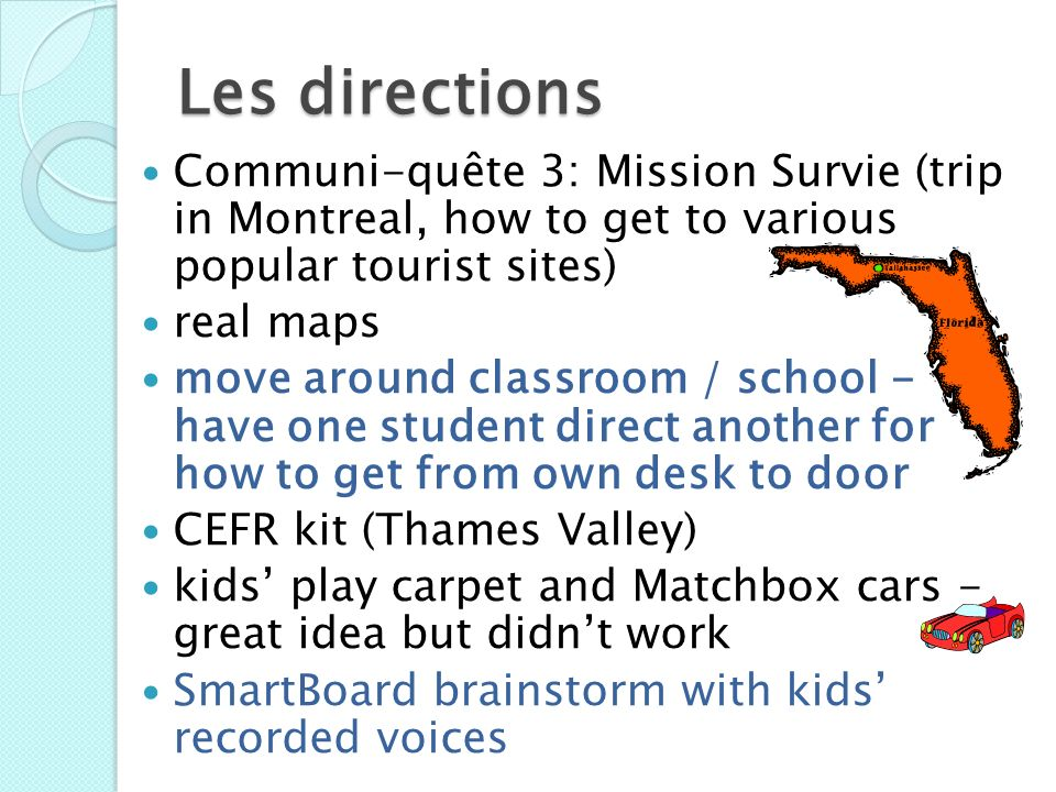 Les directions Communi-quête 3: Mission Survie (trip in Montreal, how to get to various popular tourist sites)