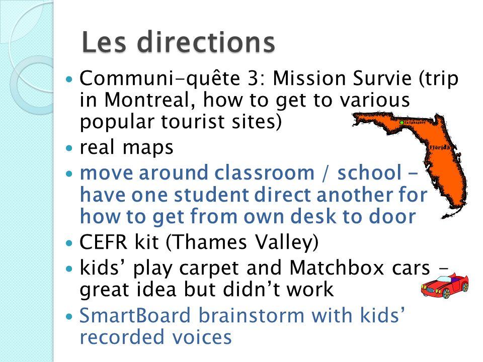Les directions Communi-quête 3: Mission Survie (trip in Montreal, how to get to various popular tourist sites)