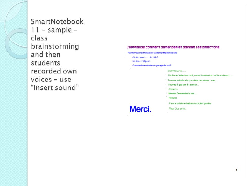 SmartNotebook 11 – sample – class brainstorming and then students recorded own voices – use insert sound