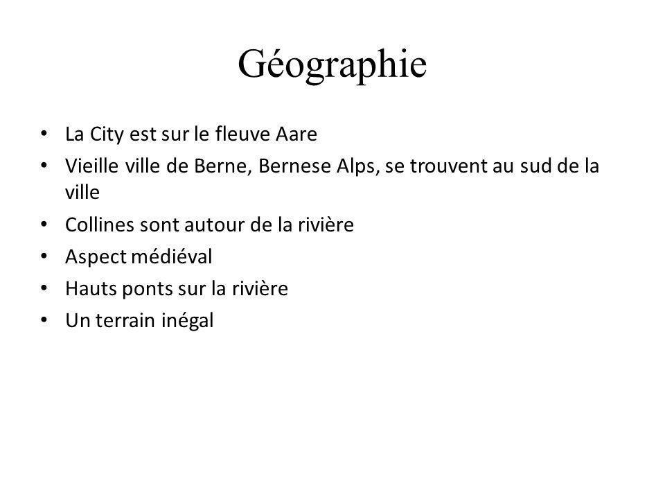Géographie La City est sur le fleuve Aare