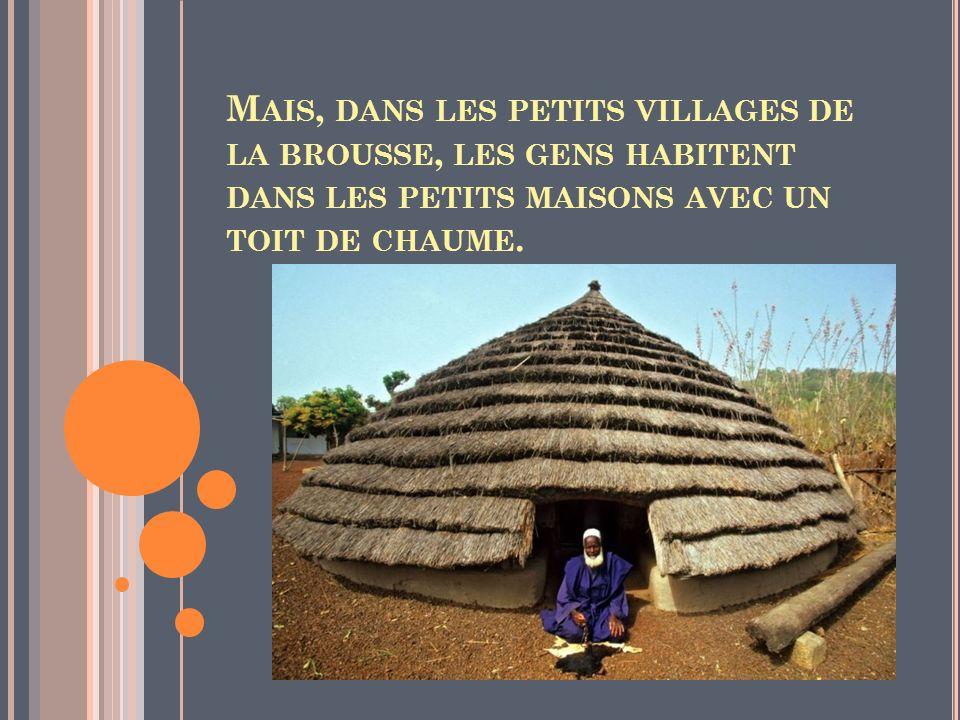 Mais, dans les petits villages de la brousse, les gens habitent dans les petits maisons avec un toit de chaume.