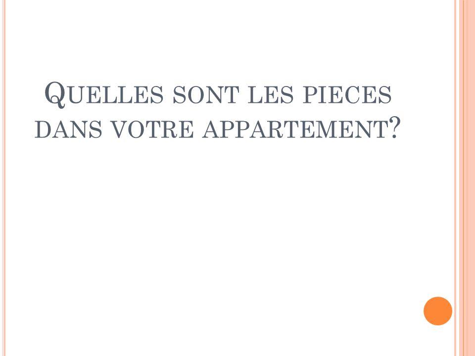 Quelles sont les pieces dans votre appartement