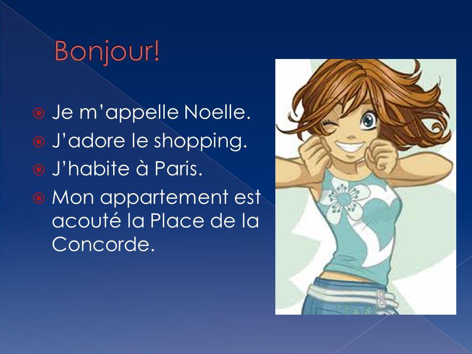 Bonjour! Je m'appelle Noelle. J'adore le shopping. J'habite à Paris.