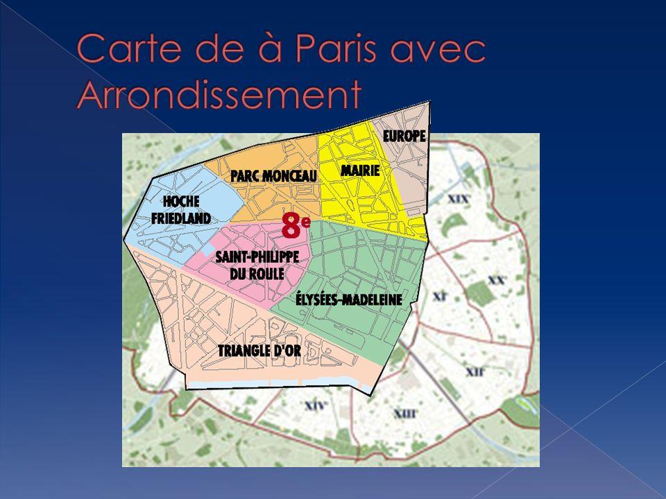 Carte de à Paris avec Arrondissement