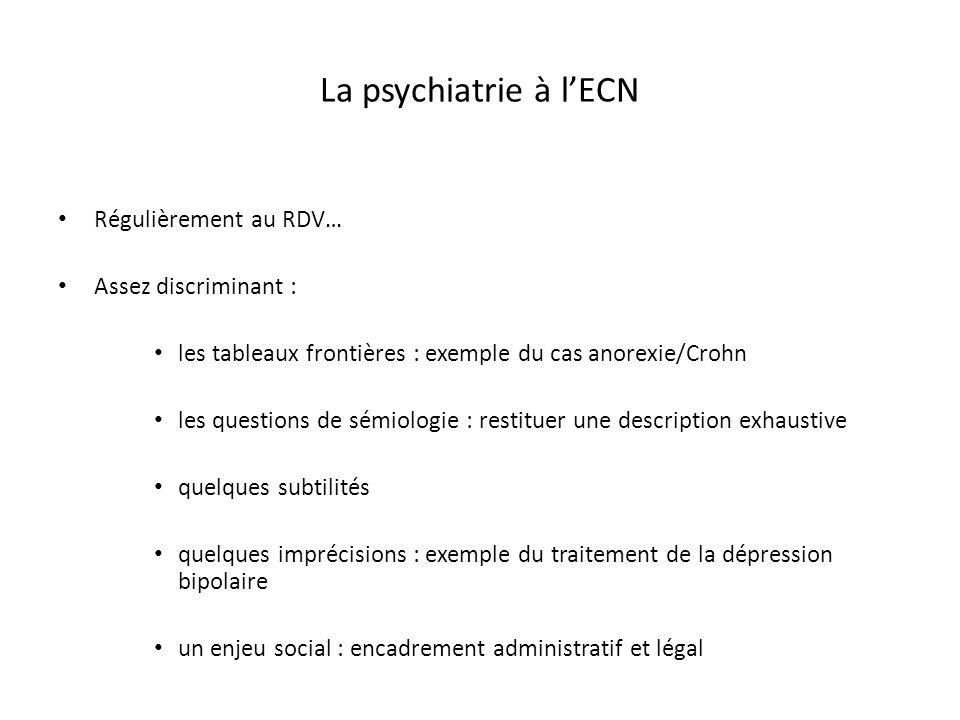La psychiatrie à l'ECN Régulièrement au RDV… Assez discriminant :