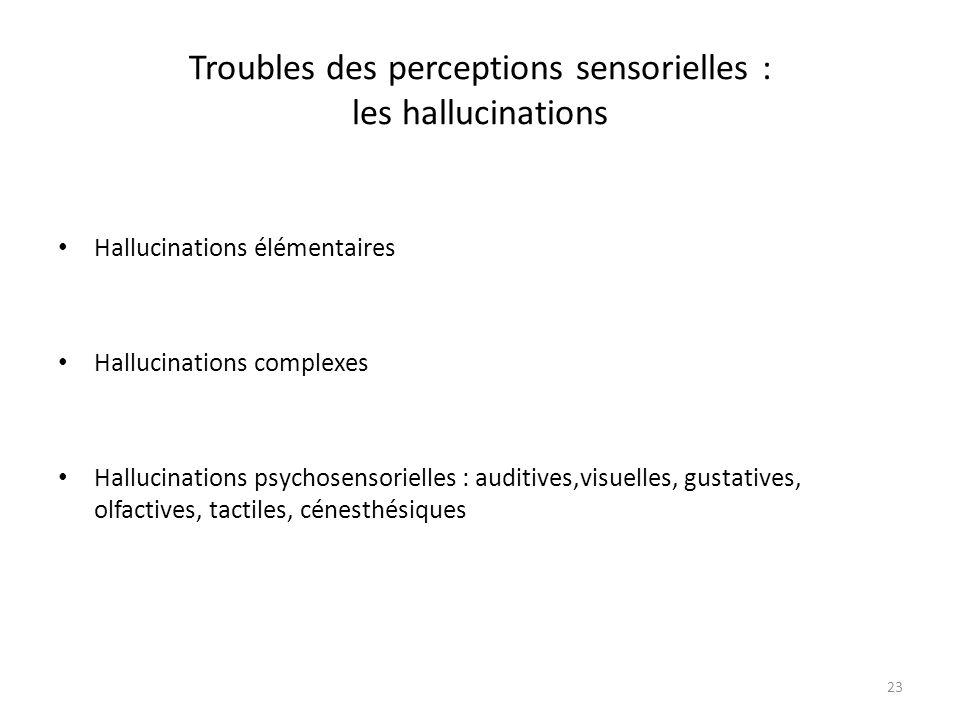 Troubles des perceptions sensorielles : les hallucinations