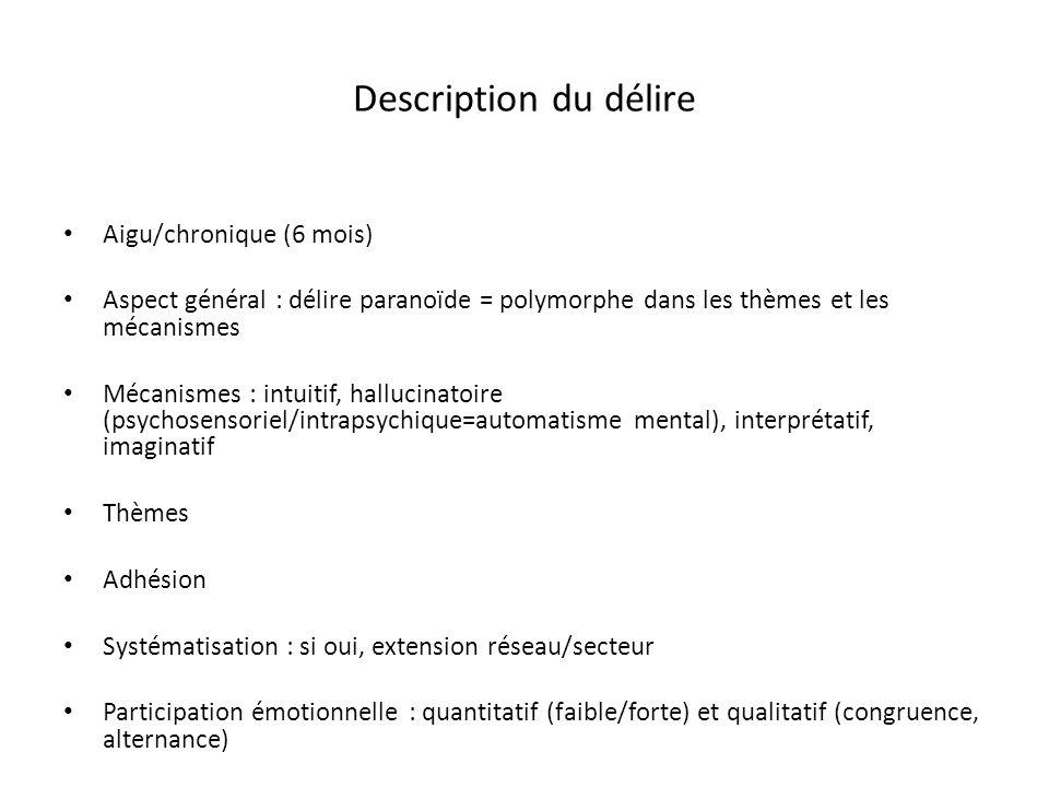 Description du délire Aigu/chronique (6 mois)