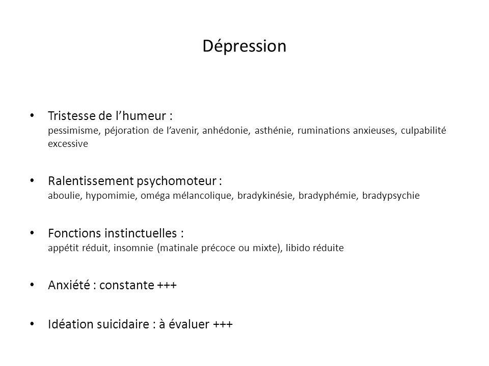 Dépression Tristesse de l'humeur : pessimisme, péjoration de l'avenir, anhédonie, asthénie, ruminations anxieuses, culpabilité excessive.