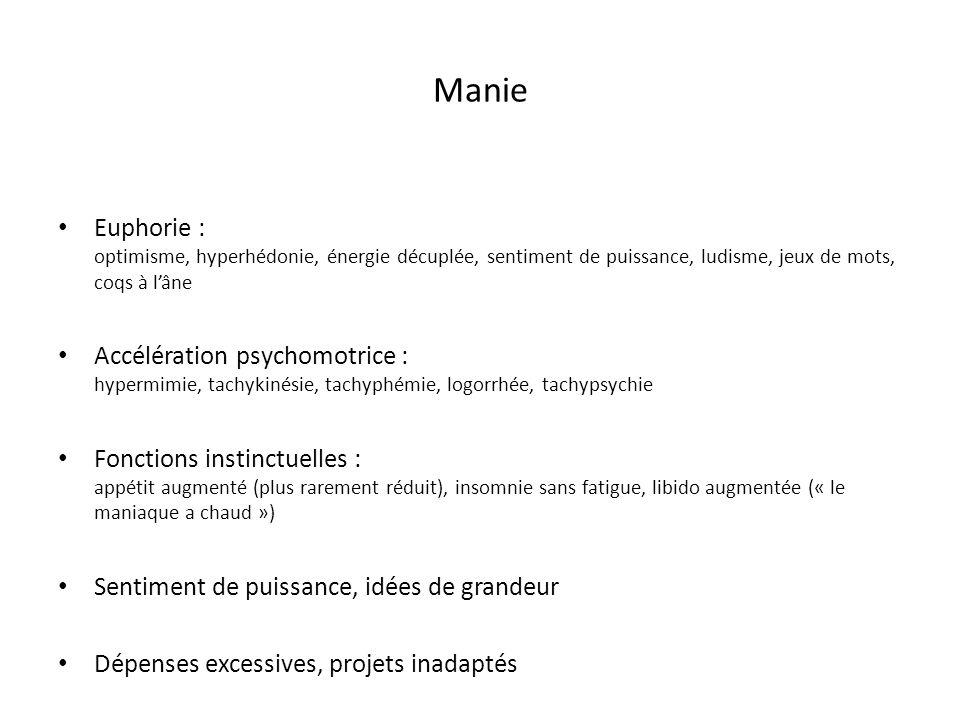 Manie Euphorie : optimisme, hyperhédonie, énergie décuplée, sentiment de puissance, ludisme, jeux de mots, coqs à l'âne.