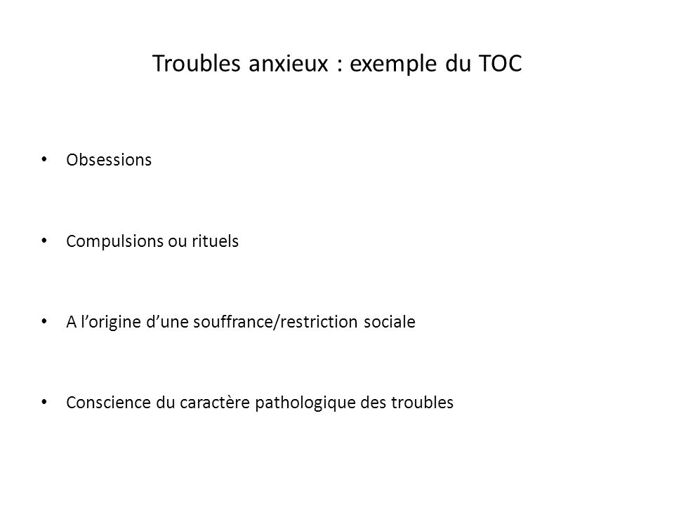 Troubles anxieux : exemple du TOC