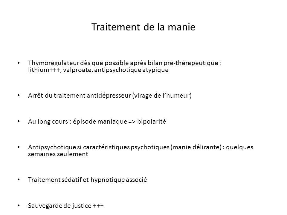 Traitement de la manie Thymorégulateur dès que possible après bilan pré-thérapeutique : lithium+++, valproate, antipsychotique atypique.