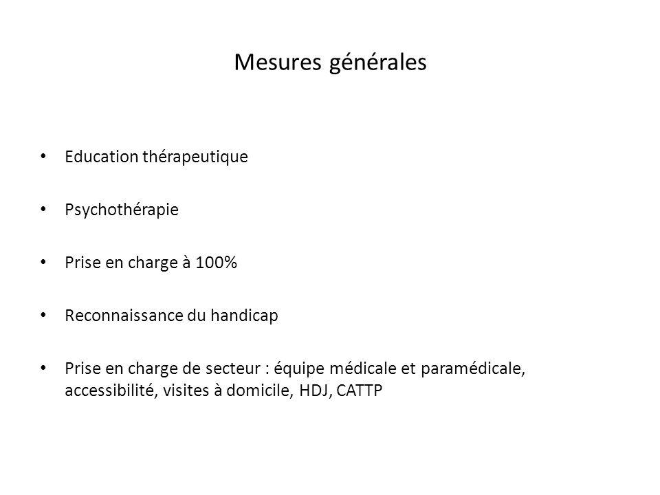 Mesures générales Education thérapeutique Psychothérapie