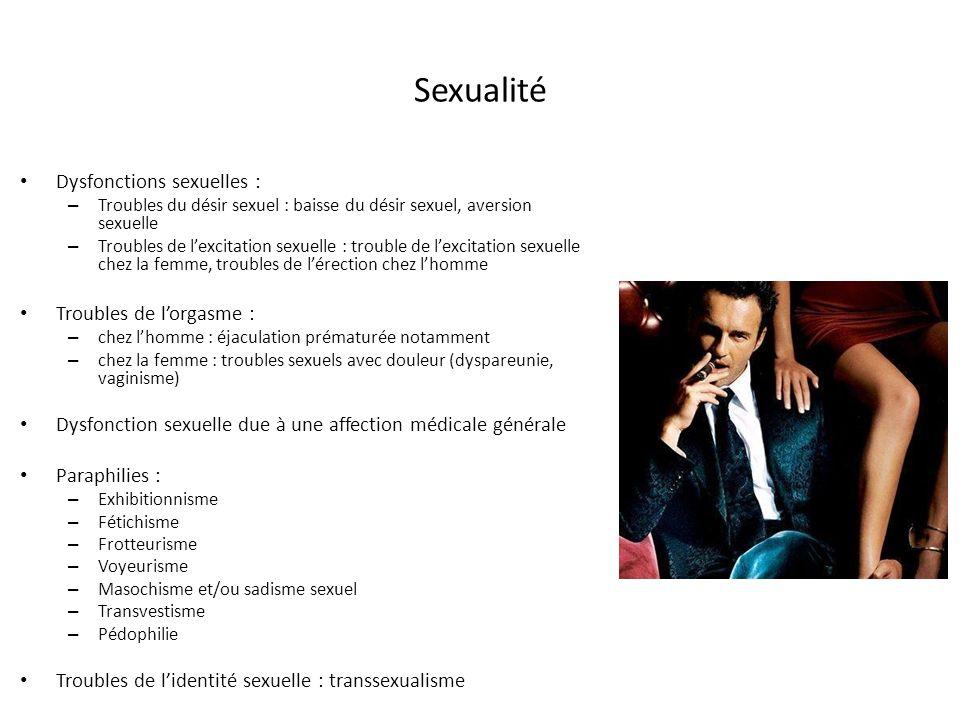 Sexualité Dysfonctions sexuelles : Troubles de l'orgasme :