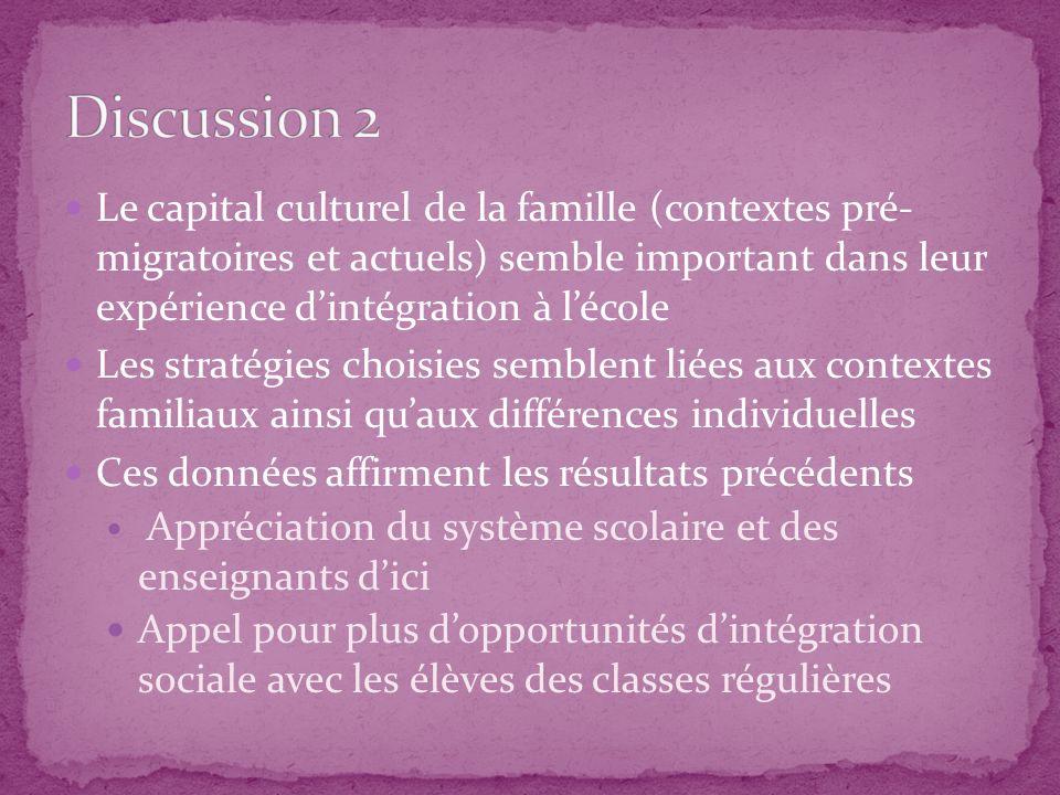Discussion 2 Le capital culturel de la famille (contextes pré- migratoires et actuels) semble important dans leur expérience d'intégration à l'école.