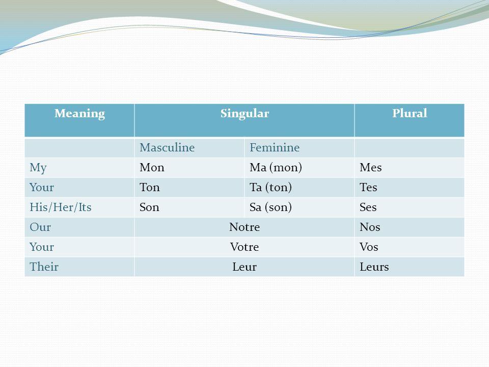 Meaning Singular. Plural. Masculine. Feminine. My. Mon. Ma (mon) Mes. Your. Ton. Ta (ton)
