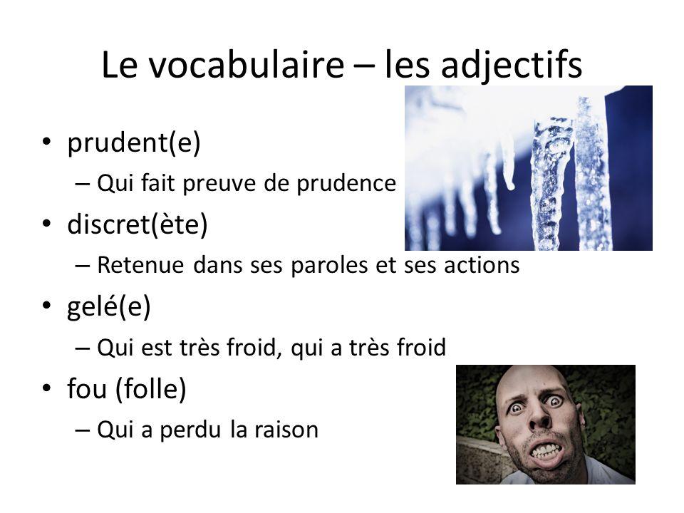 Le vocabulaire – les adjectifs