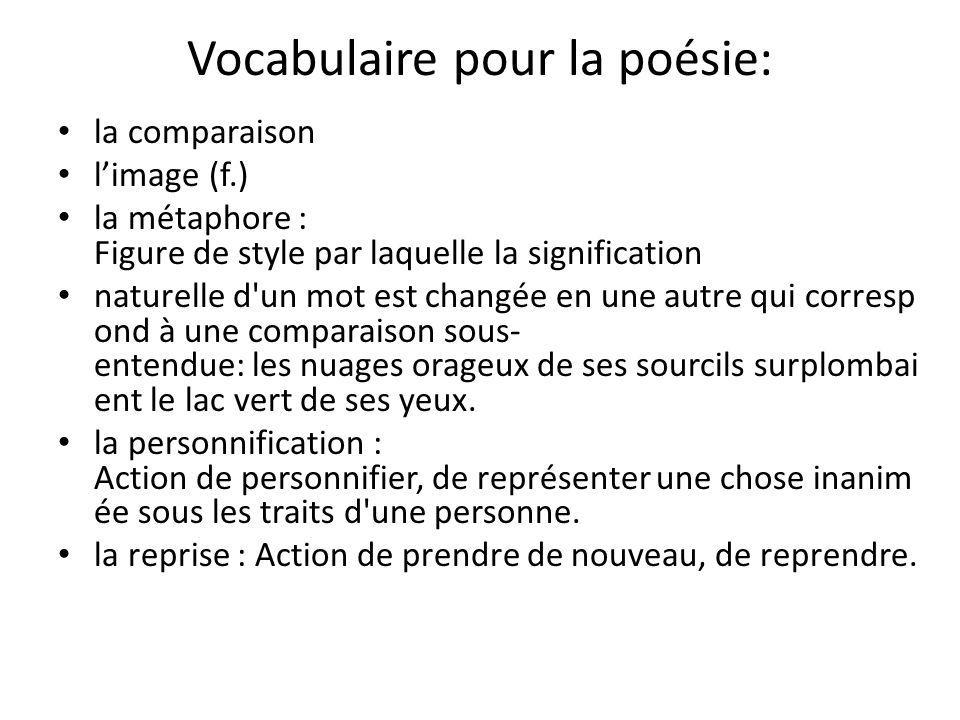 Vocabulaire pour la poésie: