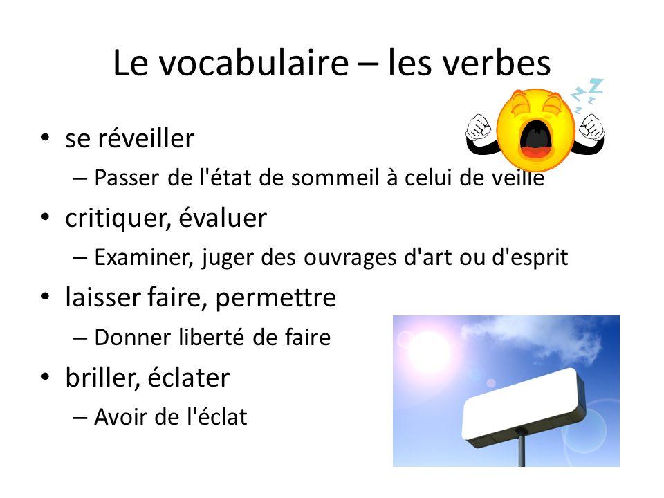 Le vocabulaire – les verbes