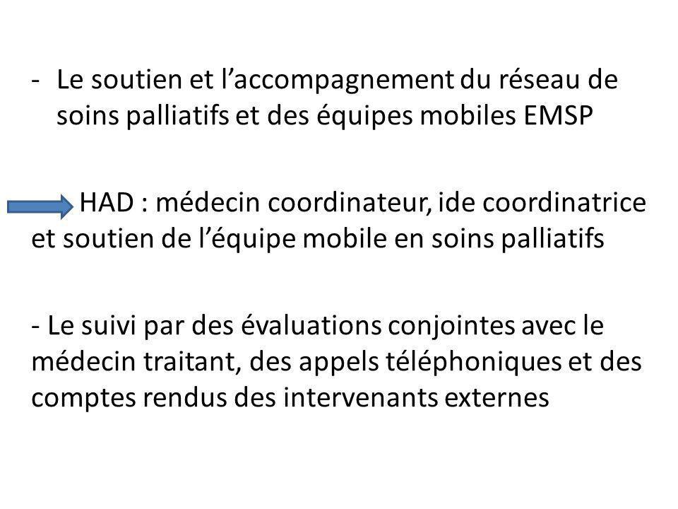 Le soutien et l'accompagnement du réseau de soins palliatifs et des équipes mobiles EMSP