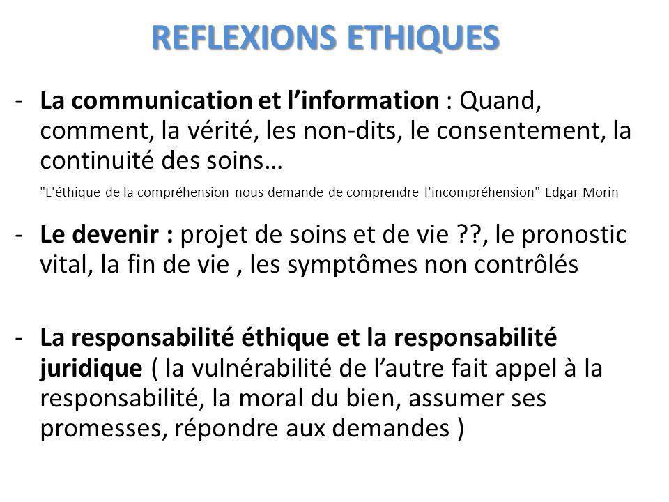 REFLEXIONS ETHIQUES La communication et l'information : Quand, comment, la vérité, les non-dits, le consentement, la continuité des soins…
