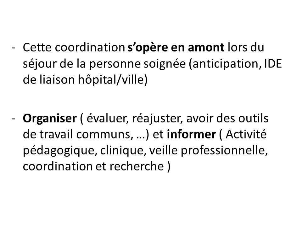 Cette coordination s'opère en amont lors du séjour de la personne soignée (anticipation, IDE de liaison hôpital/ville)