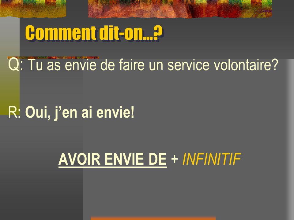 AVOIR ENVIE DE + INFINITIF