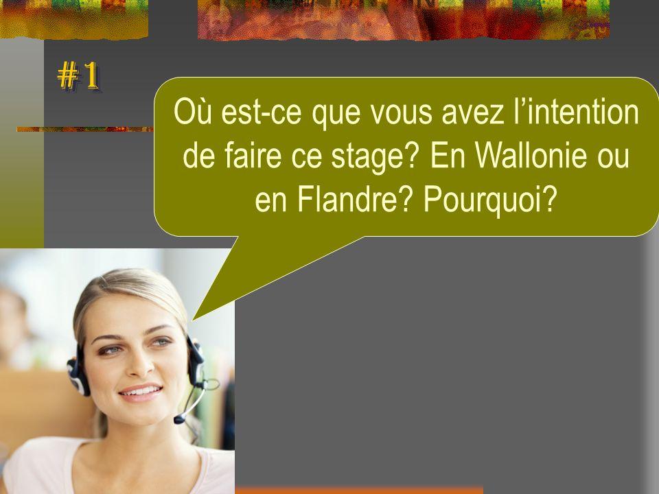 #1 Où est-ce que vous avez l'intention de faire ce stage En Wallonie ou en Flandre Pourquoi