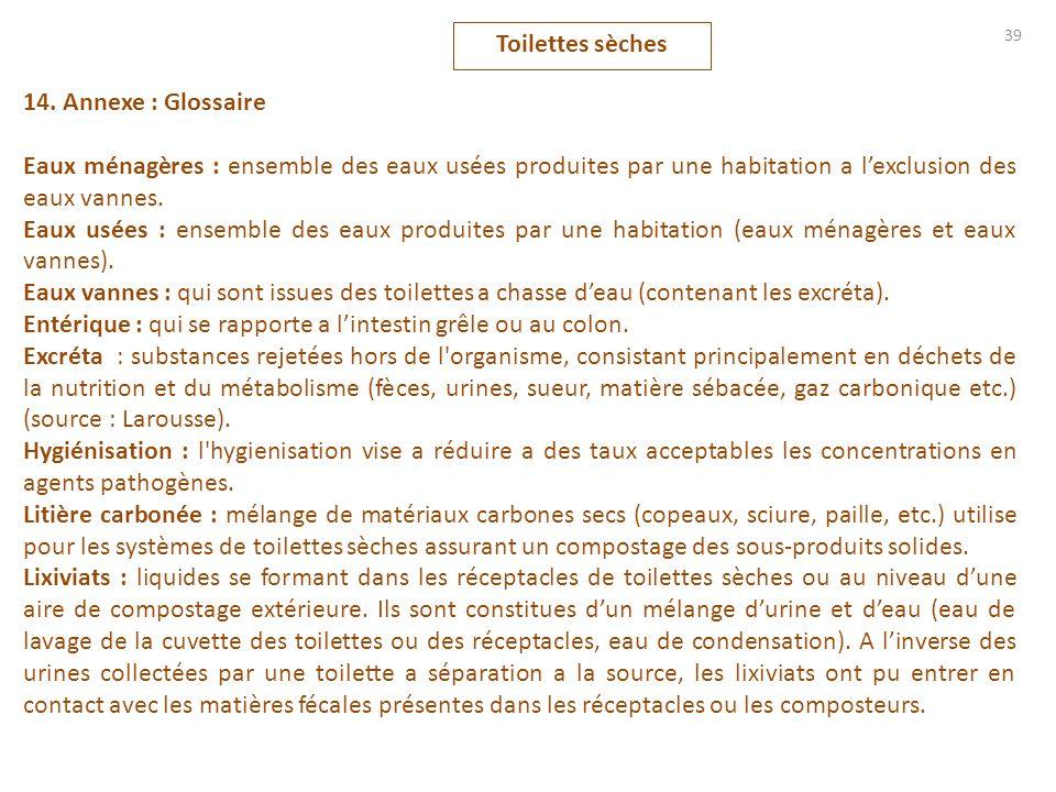 Toilettes sèches 14. Annexe : Glossaire. Eaux ménagères : ensemble des eaux usées produites par une habitation a l'exclusion des eaux vannes.