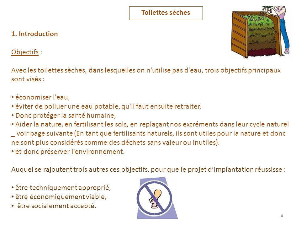 Toilettes sèches 1. Introduction. Objectifs :