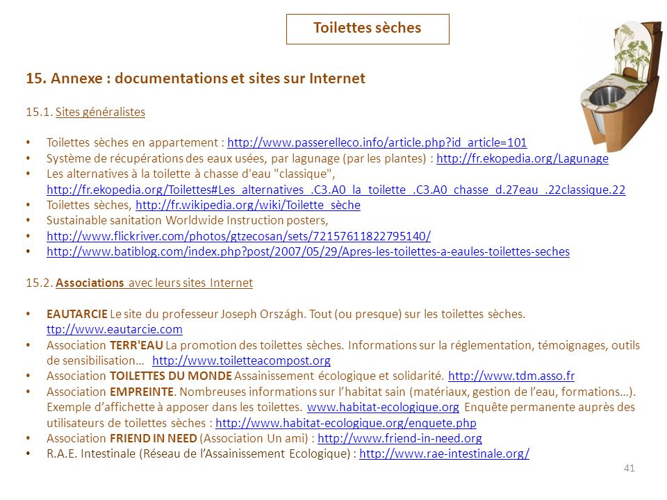 15. Annexe : documentations et sites sur Internet